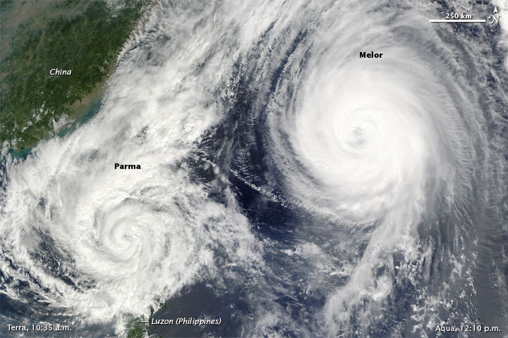 typhoon melor and ts parma 2009, nasa